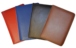 red, blue, black, british tan journal covers