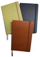 large textured notebook in tan, terracotta and navy blue