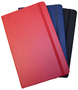 Non-refillable faux leather journal in red, navy blue and black